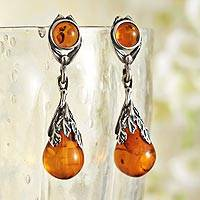 Amber dangle earrings, 'Art Deco Drops' - Art Deco Amber Teardrop Earrings