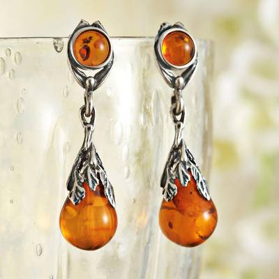 Amber Dangle Earrings Art Deco Drops Teardrop