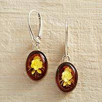 Amber dangle earrings, 'Rose Intaglio' - Amber Rose Intaglio Earrings