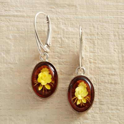 Amber Dangle Earrings Rose Intaglio