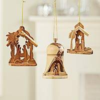 Olive wood ornaments, 'Holy Land' (set of 3) - Holy Land Olive-wood Nativity Ornaments
