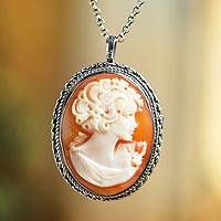Cameo pendant necklace, 'Graceful Silhouette' - Italian Cameo Pin/Pendant