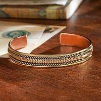 Copper and brass cuff bracelet, 'Himalayan Legacy' - Handcrafted Himalayan Copper Bracelet