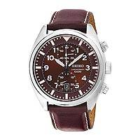 Men's Seiko chronograph watch, 'Time for Adventure' - Men's Brown Seiko Chronograph Watch with Leather Band