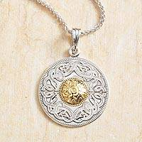 Gold accented sterling silver pendant necklace, 'Celtic Chalice' - Celtic Chalice Necklace