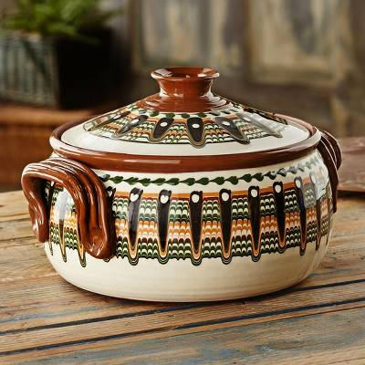 Ceramic casserole, 'Troyan Tribute' - Bulgarian Hand-painted Casserole Dish
