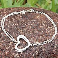Sterling silver station bracelet, 'My Sweetheart' - Handcrafted Sterling Silver Heart Bracelet from Peru
