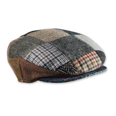 Men's wool patchwork cap, 'Donegal Patch' - Irish Donegal Tweed Cap