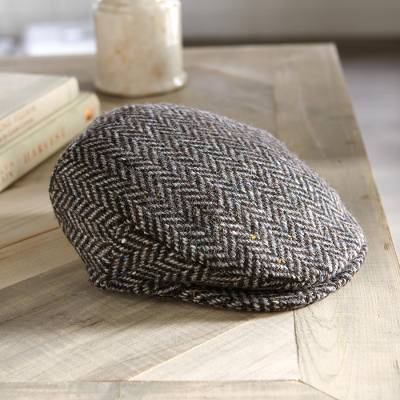 Men's wool tweed cap, 'Donegal Herringbone' - Herringbone Donegal Cap