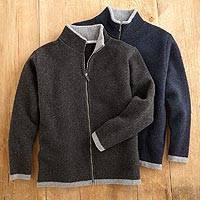 Men's wool cardigan sweater, 'Scottish Isles' - Scottish Felted Wool Cardigan