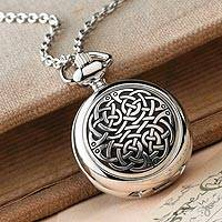 Pewter pendant watch, 'Celtic Time' - Celtic Pewter Watch Necklace
