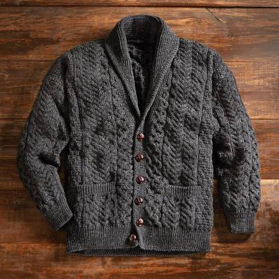 Men's wool cardigan sweater, 'Aran Legacy' - Irish Aran Shawl-collar Cardigan