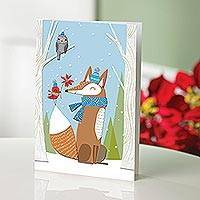 UNICEF holiday cards, 'Fox with Friends' (set of 12) - Fox with Friends UNICEF Holiday Greeting Cards (set of 12)