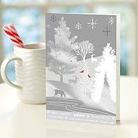 UNICEF holiday cards, 'Silver Forest' (set of 12) - Silver Forest UNICEF Holiday Cards (set of 12)