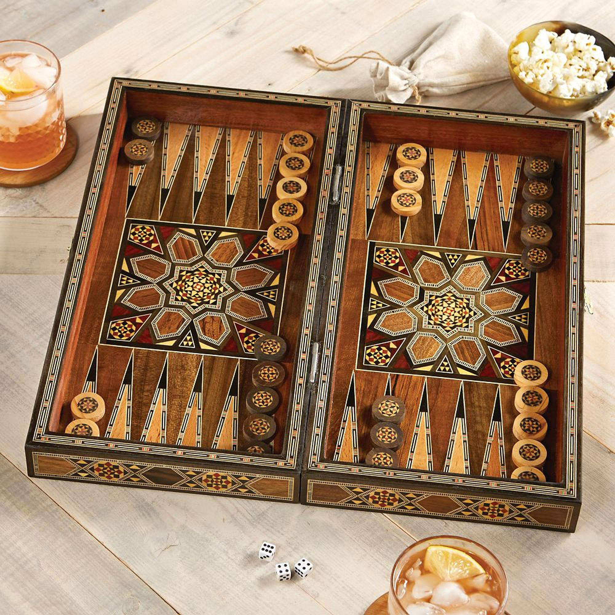 Card Game Set Wood Handcrafted India Full House Place To Call Home Box Set Wood Mosaic Backgammon Set, U0027mesopotamian Matchu0027 - Mosaic Wood-inlaid  Backgammon Set