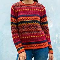 100% alpaca sweater, 'Cheerful Chic' - Colorful 100% Alpaca Sweater from Peru
