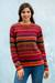 100% alpaca sweater, 'Cheerful Chic' - Colorful 100% Alpaca Sweater from Peru thumbail