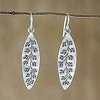 Sterling silver dangle earrings, 'Hanging Buds' - Sterling Silver Floral Dangle Earrings from Thailand