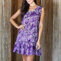 Rayon batik sundress, 'Purple Lily' - Short Rayon Sundress with Purple Floral Batik Pattern
