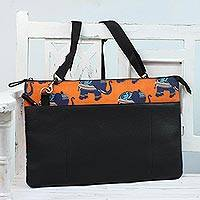 Cotton and leather laptop bag, 'Royal Procession' - Cotton and Leather Laptop Bag with Elephant Print