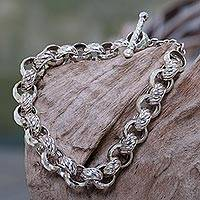 Sterling silver chain bracelet, 'Alternatives' - Artisan Crafted Sterling Silver Chain Bracelet from Bali