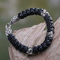 Men's leather braided bracelet, 'Eagle Warrior' (7 inch) - Men's Braided Leather Bracelet with 925 Silver (7 Inch)