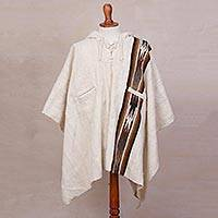 Men's 100% alpaca poncho, 'Snowcapped Andes' - Men's Alpaca Wool Poncho