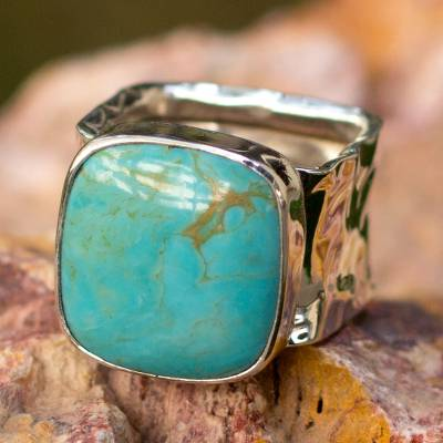 Turquoise cocktail ring, 'Always Azure' - Taxco Silver and Natural Turquoise Cocktail Ring