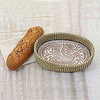 Dove Bread Warmer - Dove Theme Handwoven Palm Basket with Ceramic Bread Warmer