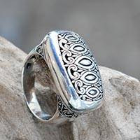 Sterling silver signet ring, 'Royal Geometric' - Artisan Crafted Sterling Silver Engraved Signet Ring