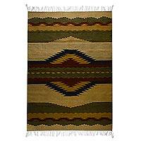 Zapotec wool rug, 'Quiet Sunrise' (5x7) - Zapotec wool rug (5x7)