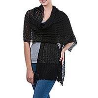 Alpaca blend shawl, 'Muse in Black' - Alpaca Wool Solid Shawl from Peru