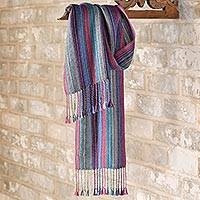 100% alpaca scarf, 'Bolivian Sunset' - Striped Bolivian 100% Alpaca Sunset Scarf
