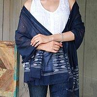 Jamdani cotton shawl, 'Kolkata Nights' - Jamdani Cotton Muslin Shawl Hand Woven Blue Wrap from India