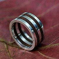 Men's wood ring, 'Triumph' - Men's Unique Brazilian Sterling Silver and Wood Band Ring