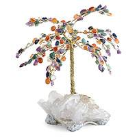 Gemstone tree, 'Crystal Carnival' (large) - Unique Brazilian Amethyst and Quartz Gemstone Sculpture