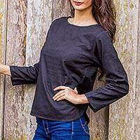 Linen blouse, 'Natural Expression in Black' - Artisan Crafted 100% Linen Black Long Sleeved Blouse