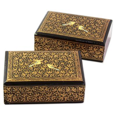 Decorative Boxes Endearing Hand Painted Wood Mini Decorative Boxes Pair From India  Avian Decorating Inspiration
