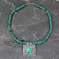 Turquoise pendant necklace, 'Mughal Sky' - Turquoise and Sterling Silver Necklace Indian Jewelry