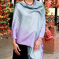 Silk and wool shawl, 'Lavender Charm' - Silk and wool shawl