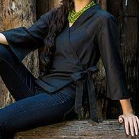 Cotton wrap blouse, 'Black Thai Charm' - Fair Trade Black Cotton Wrap Shirt