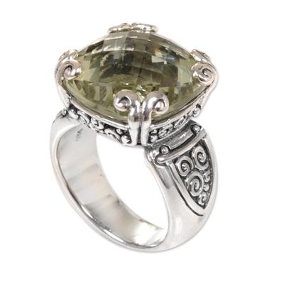 Prasiolite cocktail ring, 'Glistening Borobudur' - Sterling Silver and Prasiolite Cocktail Ring