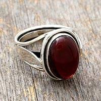 Garnet solitaire ring, 'Always Radiant' - Garnet solitaire ring