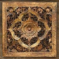 Teak relief panel, 'Jade Symmetry' - Floral Wood Relief Panel