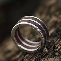 Men's wood and silver band ring, 'Triumph' - Men's wood and silver band ring