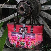 Cotton and leather accent shoulder bag, 'Pheasant Romance' - Handcrafted Hill Tribe Embroidered Tote Bag