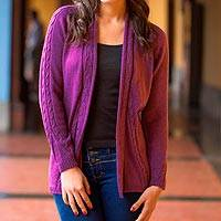 Alpaca blend cardigan, 'Orchid Beauty' - Peru Purple Alpaca Blend Open Front Women's Cardigan Sweater