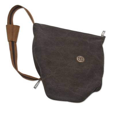 Novica Leather accent cotton backpack bag, Arequipa Style