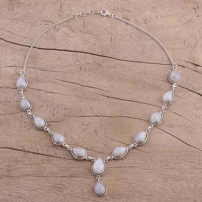 Rainbow moonstone Y-necklace, 'Mystical Charm' - Rainbow Moonstone and Sterling Silver Necklace from India
