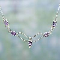 Amethyst pendant necklace, 'Flight' - Sterling Silver and Amethyst Necklace